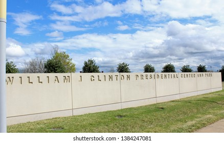 Little Rock, AR/USA: March 29, 2018 - Sign for William J Clinton Presidential Center and Park. Park includes his Library and Museum housing thousands of artifacts, photos, and an Oval Office replica.