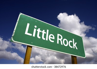 Little Rock Road Sign with dramatic blue sky and clouds - U.S. State Capitals Series.