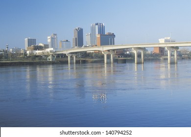 Little Rock skyline with Arkansas river in the foreground, Arkansas, USA