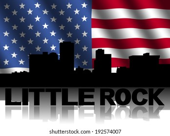 Little Rock skyline and text reflected with rippled American flag illustration