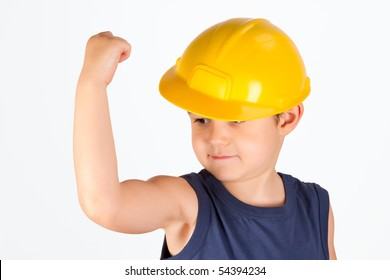 little roughneck showing his muscles