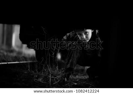 Little Sad Boy Traveler Kid Waiting Stock Photo Edit Now