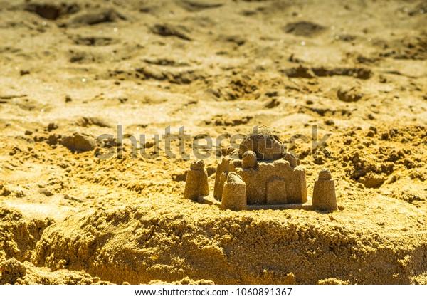 Little sand buildings on Las Teresitas beach, Tenerife, Spain.