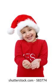 Little santa girl holding an imaginary gift