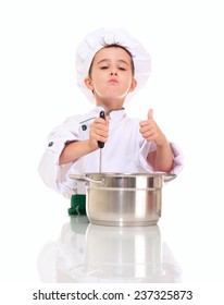 Little satisfied boy chef with ladle stirring in the pot shows ok gesture isolated on white