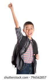Little school boy junior going to school with backpack