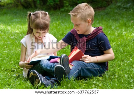 Little School Children Read Book Nature Stock Photo Edit