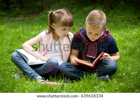 Little School Children Read Book Nature Stock Image
