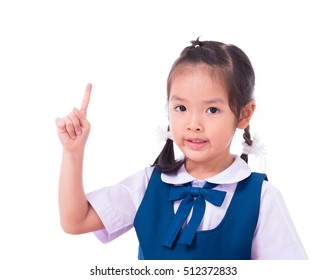 little school girl isolated on white background