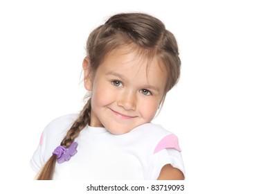 Little school girl on white background