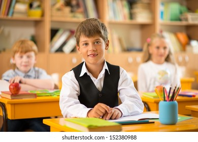 Little schoolboy  sitting behind school desk during lesson in school