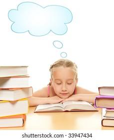 Little schoolgirl fall asleep after reading a book