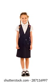little schoolgirl isolated on a white background