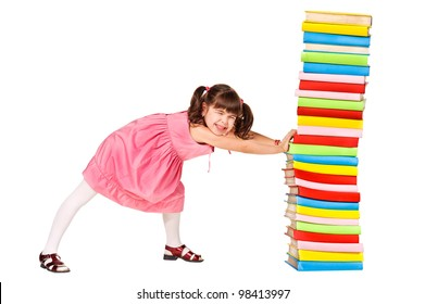 little schoolgirl push a stack of heavy books. Isolated over white