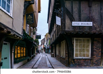 Little Shambles, York/England - December 25, 2015: The famous narrow medieval street of The Shambles in Old Town York, Many of the buildings here date back to the fourteenth and fifteenth century.