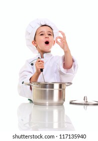 Little singing boy chef in uniform with ladle stirring in the pot ok sign isolated on white