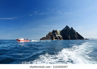 Little Skellig Island, home to many various seabirds and the second largest gannets colony in the world, County Kerry, Ireland. Tourist attractions on famous Irish Ring of Kerry route.