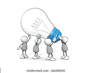 little sketchy men carrying a big light bulb