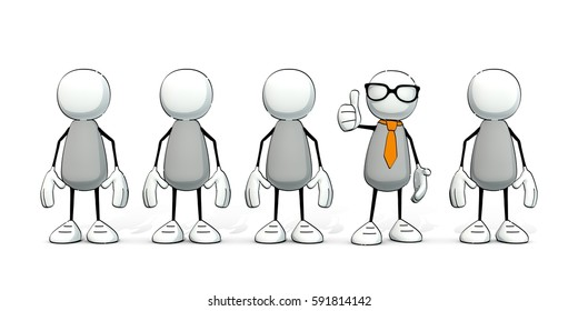 little sketchy men - one with tie and glasses sticking the thumb in the air