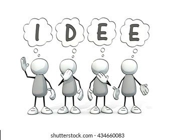 little sketchy men with thought balloons - idea (german: Idee)