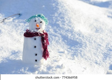 Little small Snowman in snow with copy space