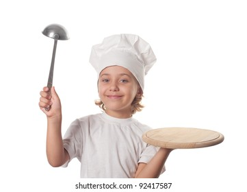 Little smiling cooker with empty dish, isolated on white