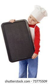 Little smiling cooker with empty vertical chalkboard, isolated on white