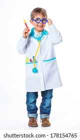 Little smiling doctor with stethoscope and syringe. Isolated on white background