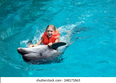 Little Smiling Girl Swimming with the Dolphin in the Swimming Pool in the Bright Sunny Day