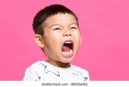 Little son yelling
