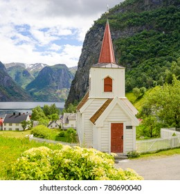 Little Stave Church in Undredal at the Fjord in Norway