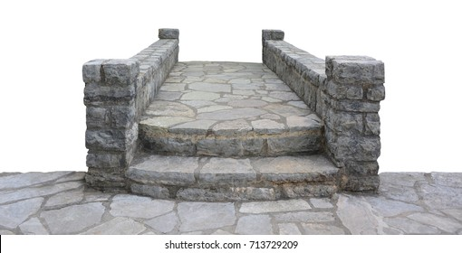 Little stone laying bridge with steps
