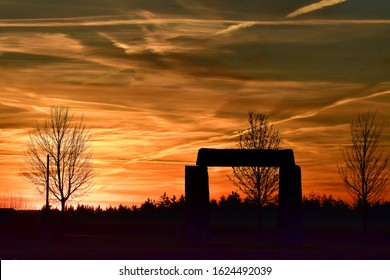Little stonehenge at a spectacular sunrise in the bavarian forest