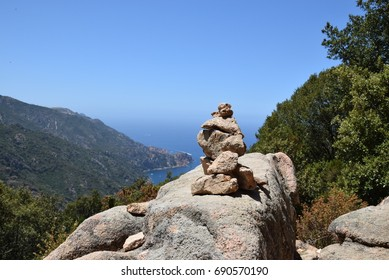 Little stones in the mountain of Corsica