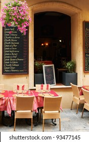 Little street restaurant in Aix en Provnece town , South France