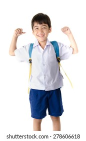 Little student boy in uniform on white background