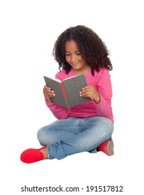 Little student girl reading isolated on a white background