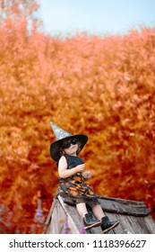 Little stylish witch outdoors, wearing halloween costume, ready for trick-or-treat, sitting on a roof of her wooden house, fall, yellow autumn trees