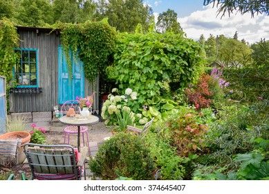 A little table with chairs in a small and very green garden. A wooden shed with turquoise door and window in the background.