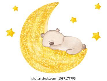 Little teddy bear sleeps on the moon. Cute watercolor illustration