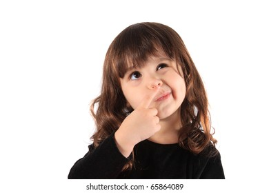 Little three year old brunette little girl holding her hand to her face with a thinking expression, hmm