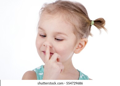 Little three years Girl Child Picking His Nose On White Background
