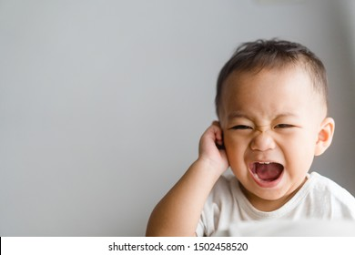 Little toddler boy has earache when insects inside isolated on grey background.2.6 years old baby boy hands touching in ear and screaming.