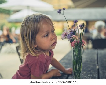 A little toddler is looking at some flowers in a cafe