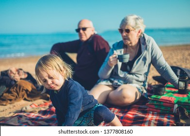 A little toddler is on the beach with his grandparents