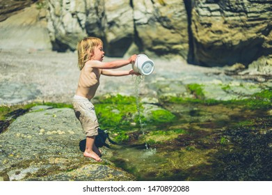 A little toddler is on the beach in summer and is splashing water with a bucket
