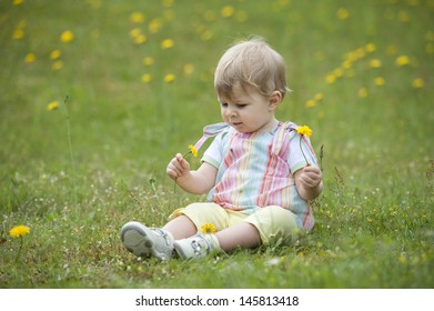 little toddler seated in the garden , playing with flowers