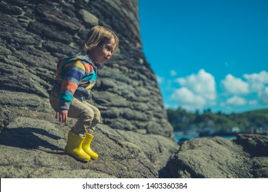 A little toddler is standing on the rocks of the beach on a sunny day
