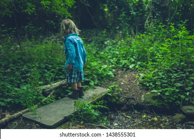 A little toddler is walking in the woods by a little brook