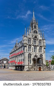 Little towers and red shutters on the historic town hall in Gouda, Netherlands